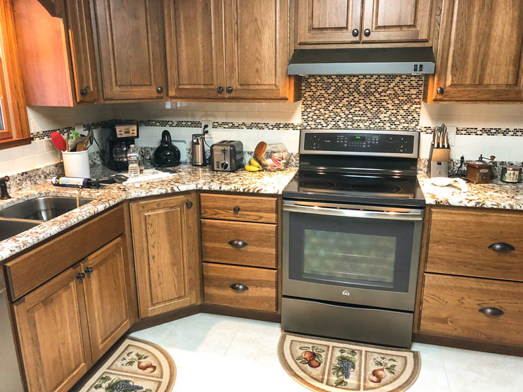 light brown wood cabinets in kitchen